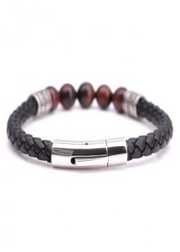 Bracelet homme carreaux cuir noir et rouge