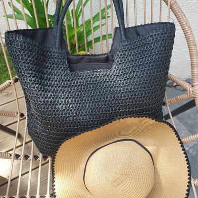 Joli sac en paille à  porter avec toutes vos tenues. Livraison rapide et gratuite. www.lescoupsdecoeurdelysia.com #sacpaille #noir #chapeaudepaille  #paille